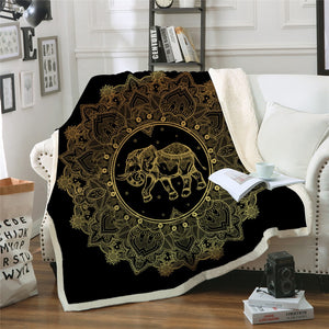 Golden Elephant Mandala Sherpa Throw Blanket - 4