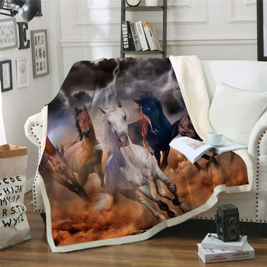 Brumby Lightning Sherpa Throw Blanket - 4 sizes