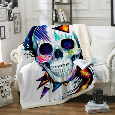 Skull by Pixie Cold Art Sherpa Throw Blanket - 4 sizes