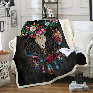 Rose Horned Bull Dreamcatcher Sherpa Throw Blanket - 4 sizes