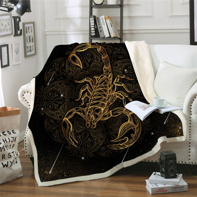 Golden Scorpion Sherpa Throw Blanket - 4