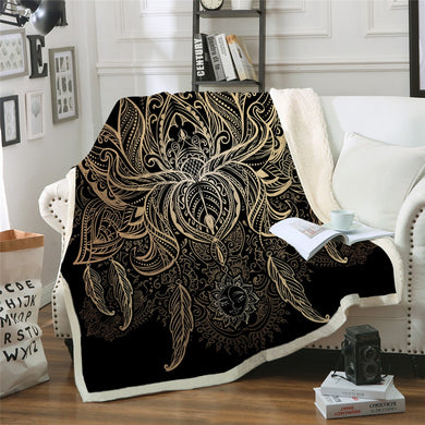 Golden Lotus Sherpa Throw Blanket - 4