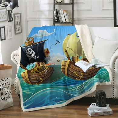 Pirate Ships Sherpa Throw Blanket - 4 sizes