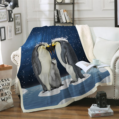 Penguin Family Sherpa Throw Blanket - 4 sizes