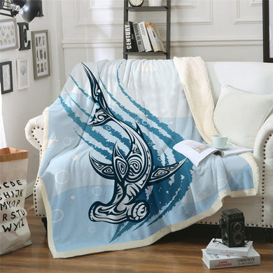 Hammerhead Mandala Shark Sherpa Throw Blanket - 4 sizes