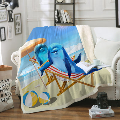Dolphin Vacation Sherpa Throw Blanket - 4 sizes