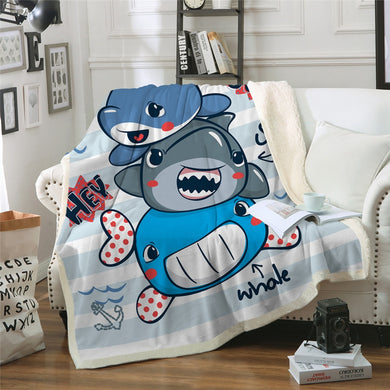 Dolphin, Shark and Whale Sherpa Throw Blanket - 4 sizes
