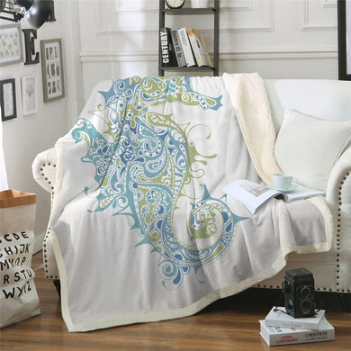 Mandala Sea Horse Sherpa Throw Blanket - 4 sizes