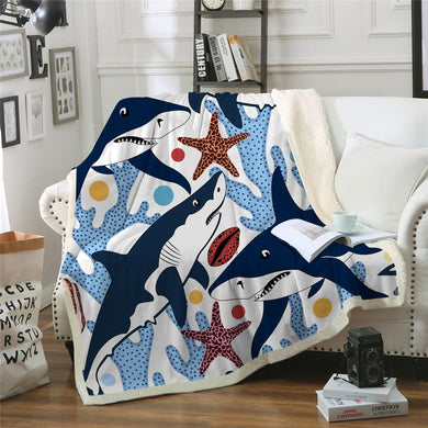 Shark and Coral Sherpa Throw Blanket - 4 sizes