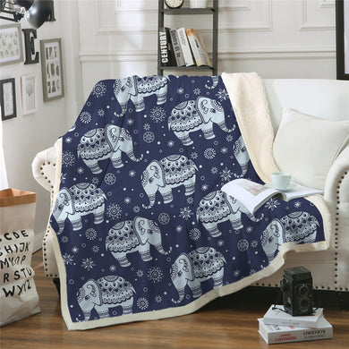 Mini Mandala Elephants Throw Blanket - 4 sizes