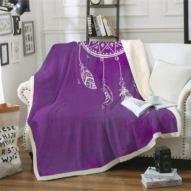 Purple Watercolour Dreamcatcher Throw Blanket - 4 sizes