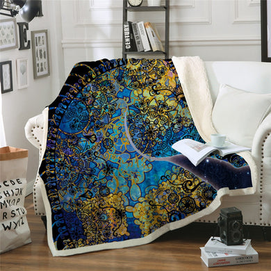 Blue & Yellow Mandala Unicorn Sherpa Throw Blanket - 4 sizes