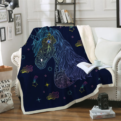 Unicorn Rainbow Sherpa Throw Blanket - 4 sizes