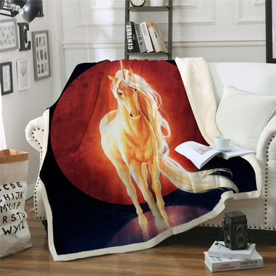 Last Unicorn by JoJoesArt Sherpa Throw Blanket - 4 sizes