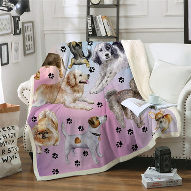 Posing Pooches Sherpa Throw Blanket - 4 sizes
