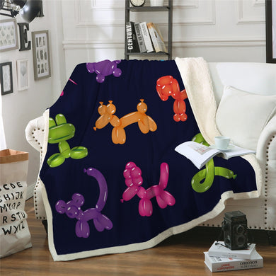 Balloon Animals Sherpa Throw Blanket - 4 sizes