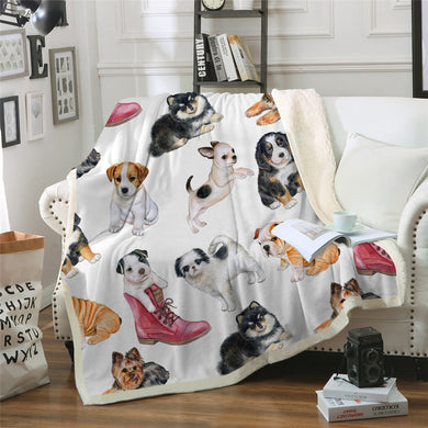 Perfect Puppies Sherpa Throw Blanket - 4 sizes