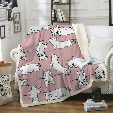 Sleepy French Bulldog Sherpa Throw Blanket - 4 sizes