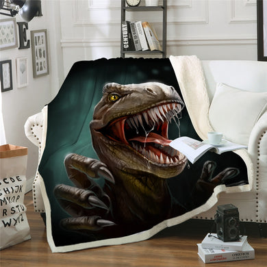 Velociraptor - Dinosaur Sherpa Throw Blanket - 4 sizes