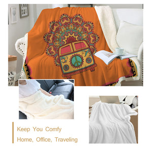 Hippie Bus - Orange - Sherpa Throw Blanket - 4 sizes