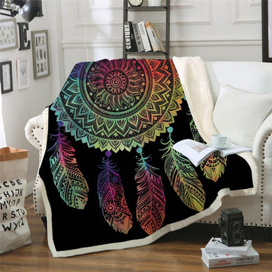 Rainbow Mandala Dreamcatcher - Full - Sherpa Throw Blanket - 4 sizes