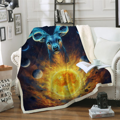 Celestial Elk by JoJoesArt Sherpa Throw Blanket - 4 sizes