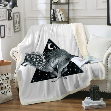 Wolf Running by Pixie Cold Art Sherpa Throw Blanket - 4 sizes