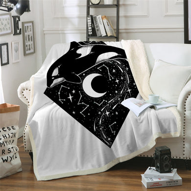 Moon Orca by Pixie Cold Art Sherpa Throw Blanket - 4 sizes