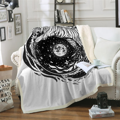 Moon Tiger by Pixie Cold Art Sherpa Throw Blanket - 4 sizes