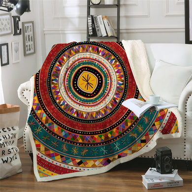 Aztec Rings Sherpa Throw Blanket - 4 sizes