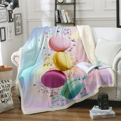Macaroon Sherpa Throw Blanket - 4 sizes