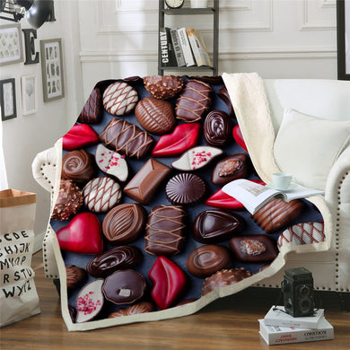 Assorted Chocolates Sherpa Throw Blanket - 4 sizes