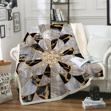 Ornate Marble Sherpa Throw Blanket - 4 sizes