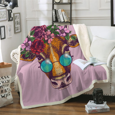 Hippy Cow Sherpa Throw Blanket - 4 sizes