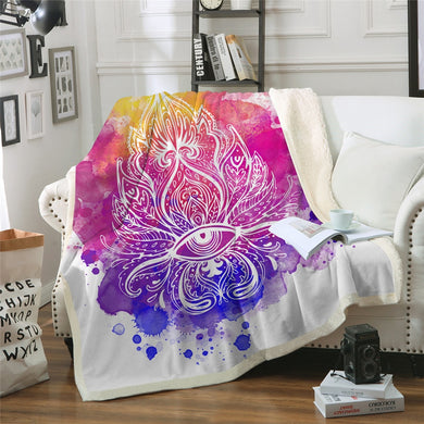 Watercolour Lotus Sherpa Throw Blanket - 4 sizes
