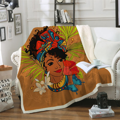 African Woman Sherpa Throw Blanket - 4 sizes
