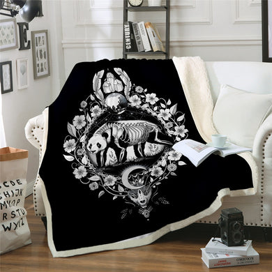 Panda by Pixie Cold Art Sherpa Throw Blanket - 4 sizes