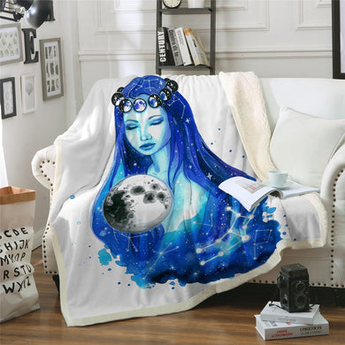 Virgo - Jungfrau by Pixie Cold Art Sherpa Throw Blanket - 4 sizes