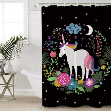 Floral Wreath Unicorn Shower Curtain