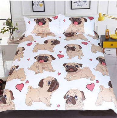 Fawn Pug - White - Doona Cover 2/3pc set