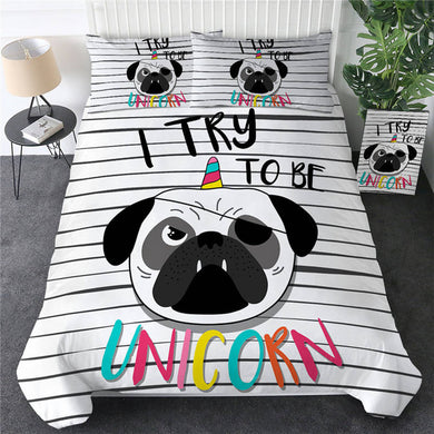 I Try Pug Doona Cover 2/3pc set