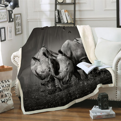 Rhino Couple Sherpa Throw Blanket - 4 sizes