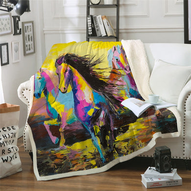 Horse Sunset Sherpa Throw Blanket - 4 sizes