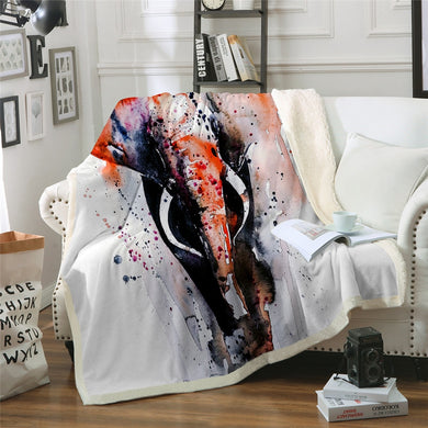 Watercolour Elephant Throw Blanket - 4 sizes