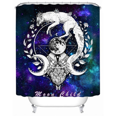 Moon Child - Blue - by Pixie Cold Art Shower Curtain