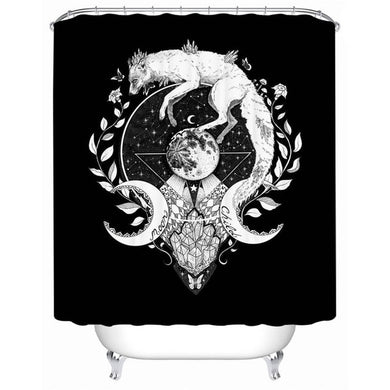 Moon Child - Black - by Pixie Cold Art Shower Curtain