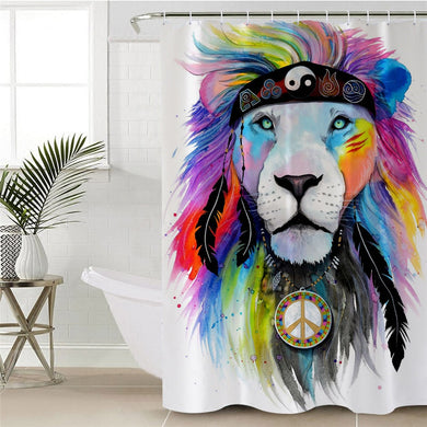 Hippy Lion by Pixie Cold Art Shower Curtain