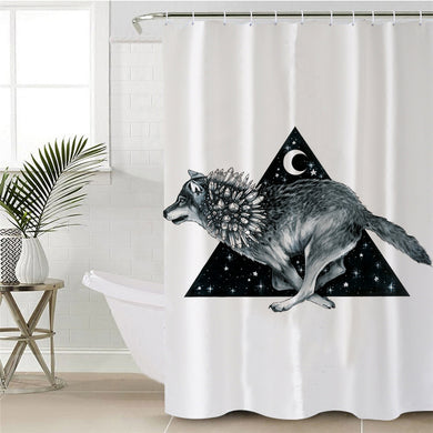 Wolf Running by Pixie Cold Art Shower Curtain