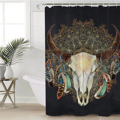 Mandala Bull Skull Dreamcatcher - Black - Shower Curtain