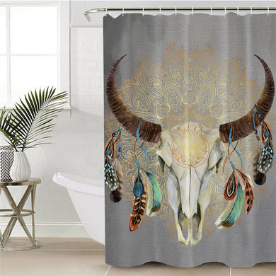 Mandala Bull Skull Dreamcatcher - Grey - Shower Curtain